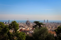 Sagrada Familia from the air (Barcelona, Spain).