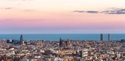 Sagrada Familia panorama view of barcelona city,Spain