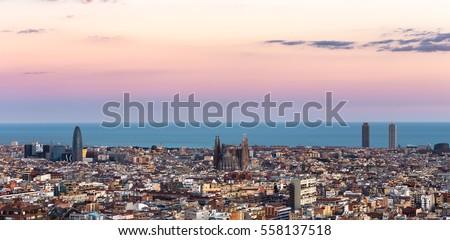 Shutterstock Sagrada Familia panorama view of barcelona city,Spain