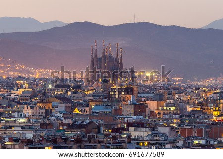 Shutterstock Sagrada familia skyline at dusk Barcelona city,spain
