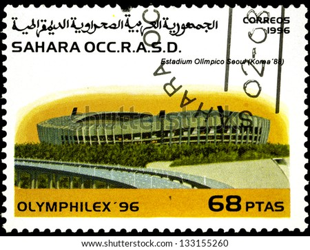 "SAHARA - CIRCA 1996: A stamp printed in Sahrawi Arab Democratic Republic, shows a Olympic Stadium, Seoul (South Korea 1988), with the same inscription, from the series ""Olymphilex, 1996"", circa 1996"