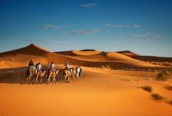 Sahara desert camels trekking tours with berbers adventure dromadaires riding and berber guiding excursion  in Merzouga Dubai, Oman, Bahrain Morocco or Kuwait dunes safari