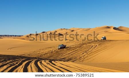 Sahara Desert Highway - Rush hour in the Awbari Sand Sea, Sahara, Libya