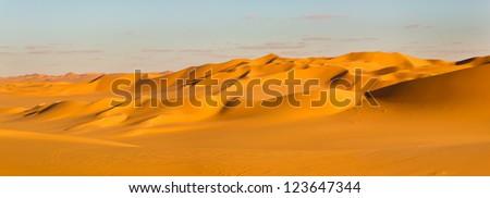 Sahara Desert Panorama - Sand Dunes in Libya