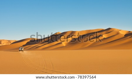 Sahara Desert Safari Adventure - Off-road vehicle driving in the Awbari Sand Sea, Libya