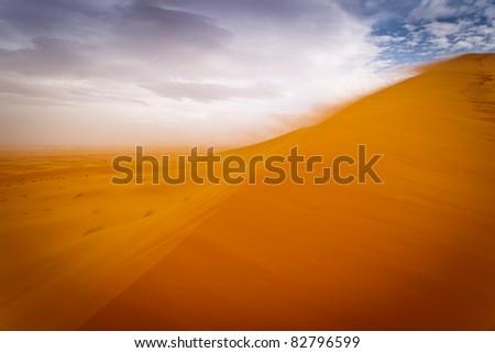 Sahara, Morocco: Wind storm on sand dunes of the Sahara Desert, Morocco