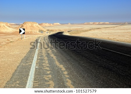 Sahara, the road in the desert, Africa, Egypt