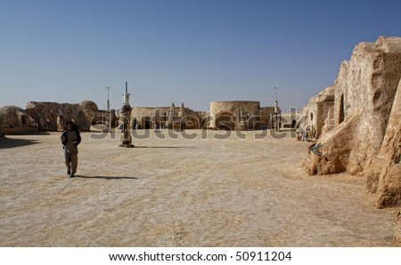SAHARA, TUNISIA - OCT 18: Abandoned sets for the shooting of the movie Star Wars in the Sahara desert on a background of sand dunes on October 18, 2008 in Sahara, Tunisia