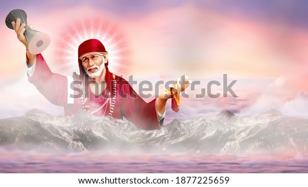 Sai Baba of Shirdi wallpaper Hindu God with clouds rays mountains 3D Rendering Lord Statue for mandir temple Om Sai Ram