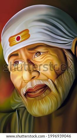 Sai baba Shirdi indian God face art painting poster