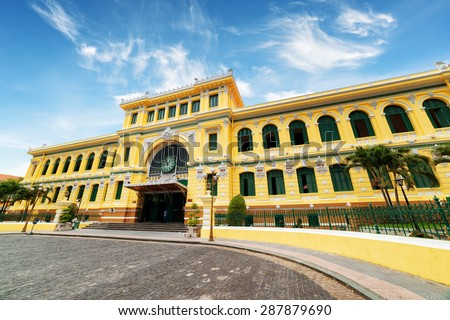 Saigon Central Post Office on blue sky background in Ho Chi Minh, Vietnam. Steel structure of the gothic building was designed by Gustave Eiffel. Ho Chi Minh is a popular tourist destination of Asia.