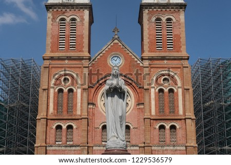 Saigon Notre Dame Cathedral, built in the late 1880s by French colonists, is one of the few remaining strongholds of Catholicism in the largely Buddhist Vietnam. Located in Paris Square,