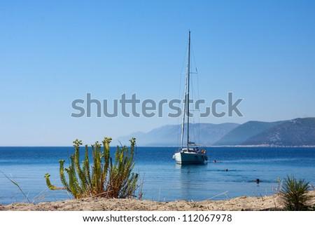 Sail boat, Adriatic sea near Dubrovnik, Croatia