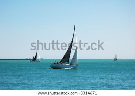 Sail boat on Lake Michigan, Chicago - stock photo
