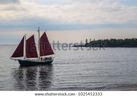 Sail boat sailboat three sails schooner red pirate ocean vintage old mysterious sailor