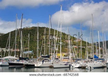 Sail boats at Nanny Cay in Tortola, Virgin Islands.