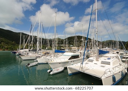 sail boats docked in St. Thomas, U.S. Virgin Islands.