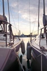 Sail boats in Valencia port, Spain.