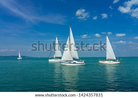 Sail Boats on the blue Lake Balaton Hungary Stock photo ©
