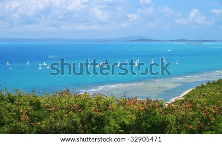 Sail boats on the Caribbean sea in Puerto Rico
