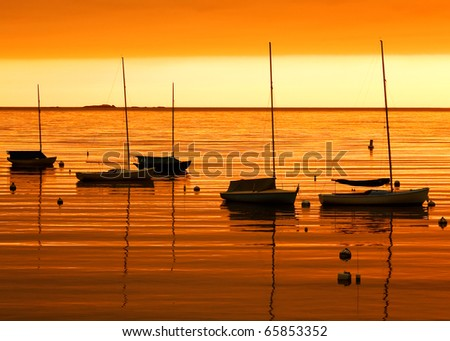 Sail boats tied up in port as the sun colors everything orange during twililght.