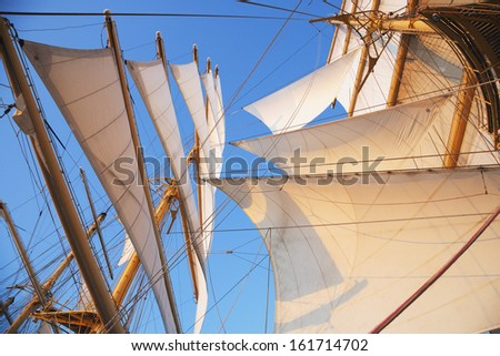 Sail of a clipper ship Amalfi Province Of Salerno Gulf Of Salerno Tyrrhenian Sea Campania Italy