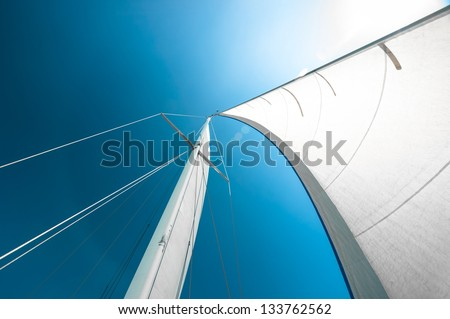 Sail of a sailing boat against sky