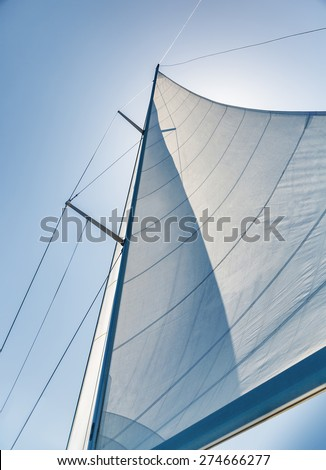 Sail on sky background, part of luxury water transport, summer adventure on sailboat, freedom and active lifestyle concept