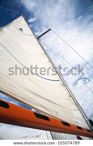 Sail with an orange boom