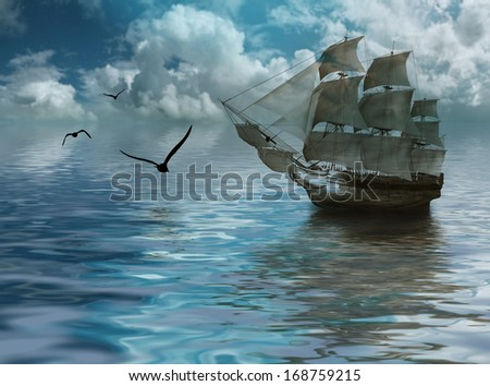 Sailboat against a beautiful landscape