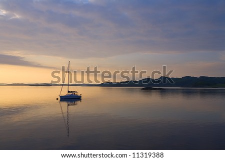 Sailboat at Dusk, Loch Crinan, Scotland
