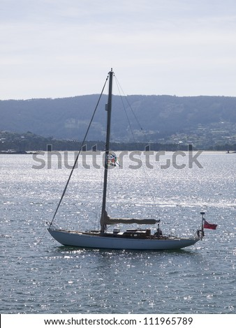 sailboat at sea in vertical composition