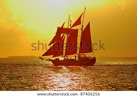 Sailboat at Sunset in Key West, Florida, USA