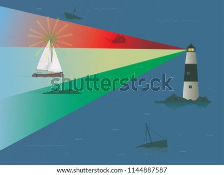 Sailboat being guided through Treacherous Rocks at Night by Beacon of Light from Lighthouse, Risk Concept, Skill, Experience, Navigation, Guiding Lights, Timing, Seamanship, Running Aground, Pilotage
