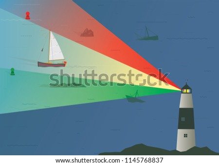Sailboat being guided through Treacherous Rocks at Night by Lighthouse, Illustration, Risk Management Concept, Skill and Experience, Navigation, Guiding Lights, Timing, Caution, Research, Boating