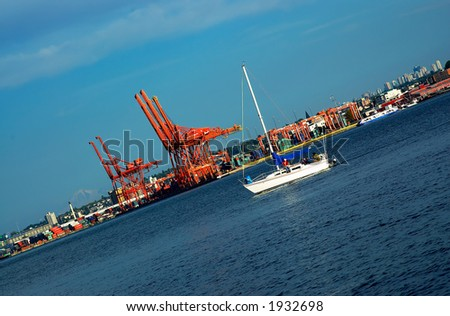 Sailboat & crane groups in Vancouver harbor. More with keyword group14e
