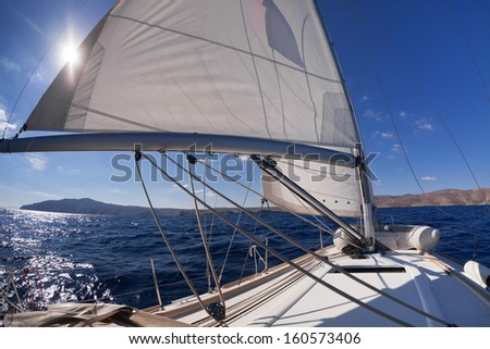 Sailboat crop during the regatta near greek islands