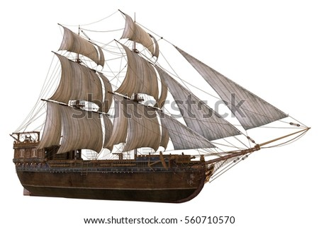 Sailboat 3D Illustration Isolated On White