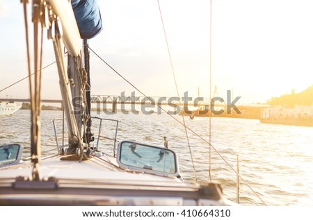 Sailboat detailed parts. Yachting concept. Shallow depth of field