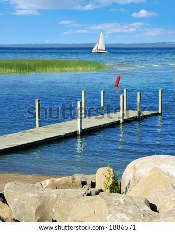 Sailboat in Grand Traverse Bay, Michigan - stock photo