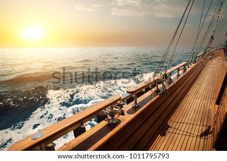 Sailboat in red sea