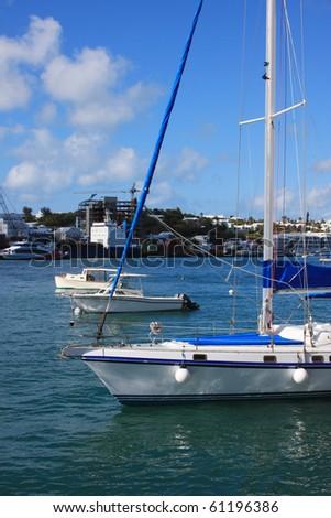 Sailboat in the harbor off Hamilton Bermuda