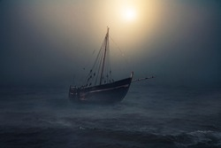 Sailboat in the sea floats in the moonlight, thick fog descended on the water after the storm. Fantasy landscape.