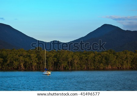 Sailboat Moored in Cairns Harbor Great Barrier Reef