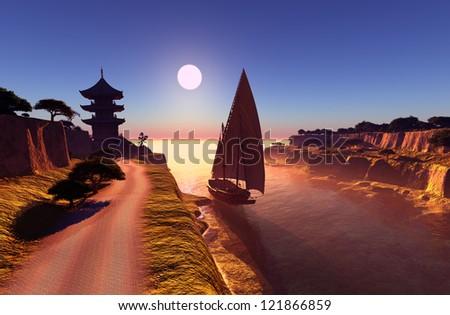 Sailboat near the beach at sunset.