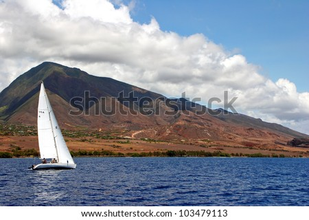 Sailboat on Beautiful Maui Hawaiian Island Ocean