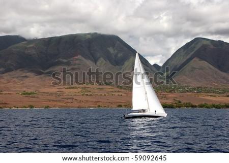 sailboat on beautiful Maui Hawaiian Island ocean