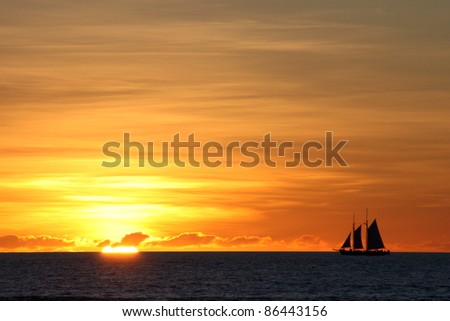 Sailboat on sunset, Broome, Australia