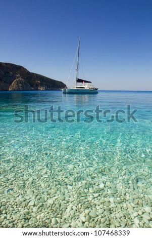 Sailboat on the beautiful beach Porto Katsiki, Greece