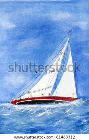 sailboat on the high seas in watercolor